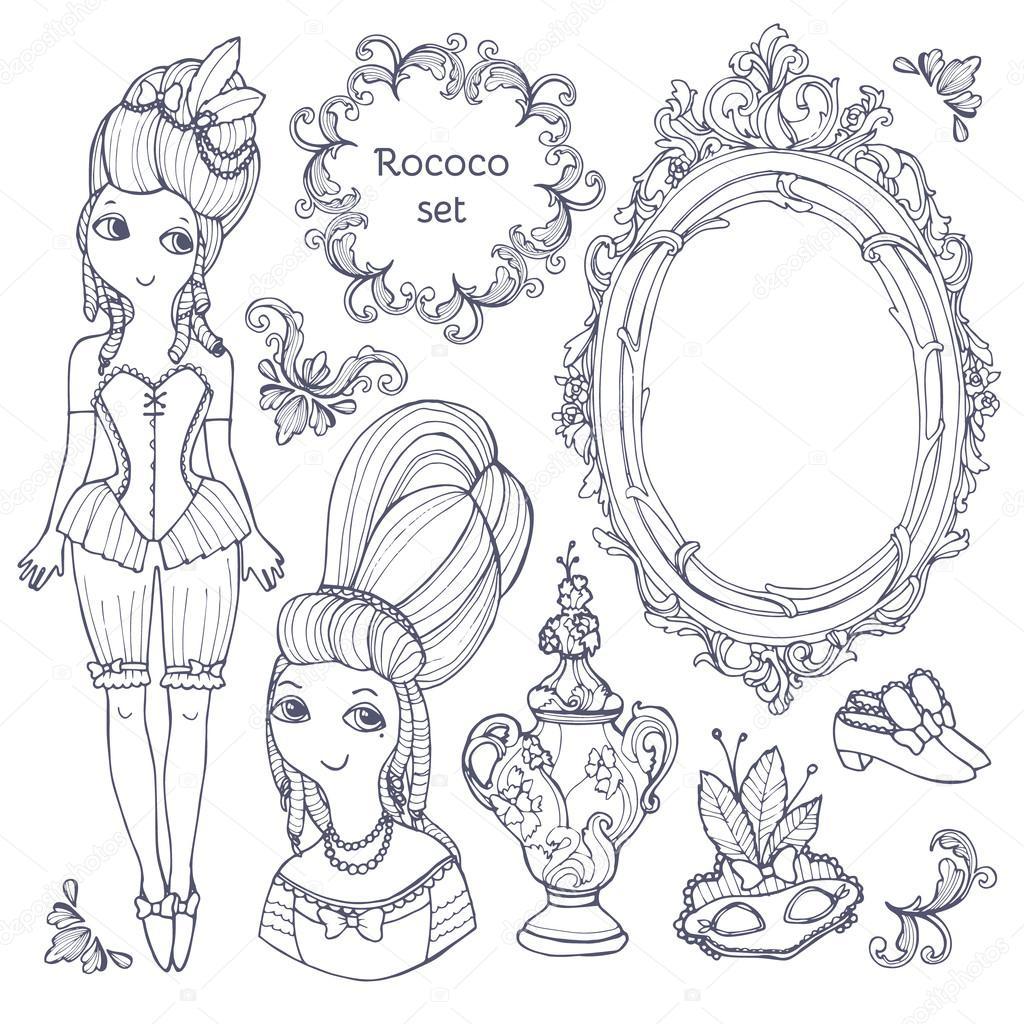 Set of vector hand-drawn rococo elements