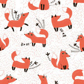 Photo Pattern with sly foxes and floral elements