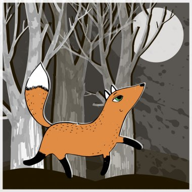 Sly fox walks in the woods at night