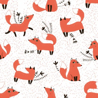 Pattern with sly foxes and floral elements