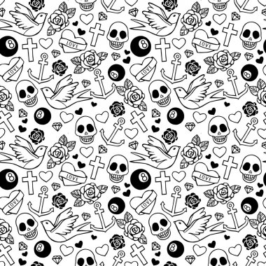 Seamless pattern with hearts, roses, sculls, ribbons, swallow, anchors.
