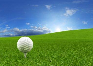 Golf ball on the green grass ( 3d rendering )