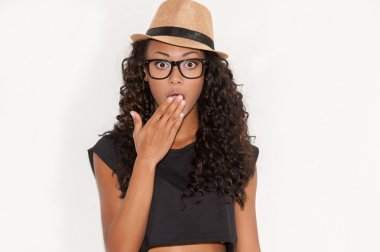Surprised young African woman
