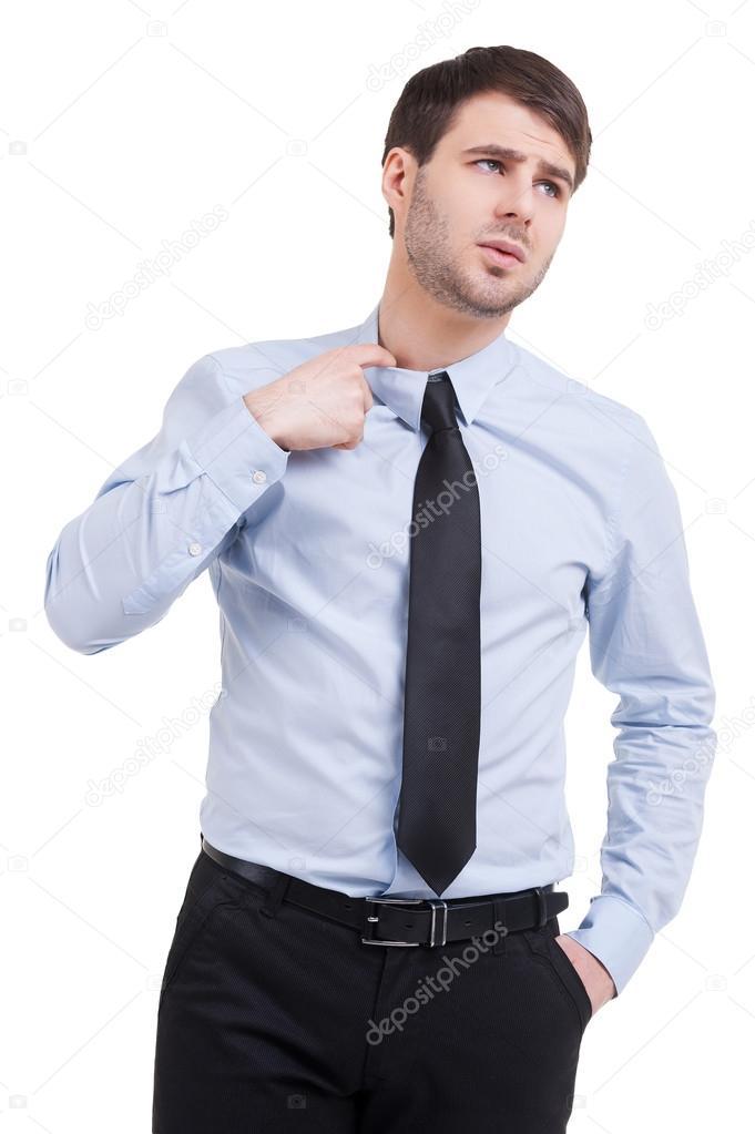 Man En Op In Stropdas Overhemd Hand — De Kraag Stockfoto Die WE2YH9ID