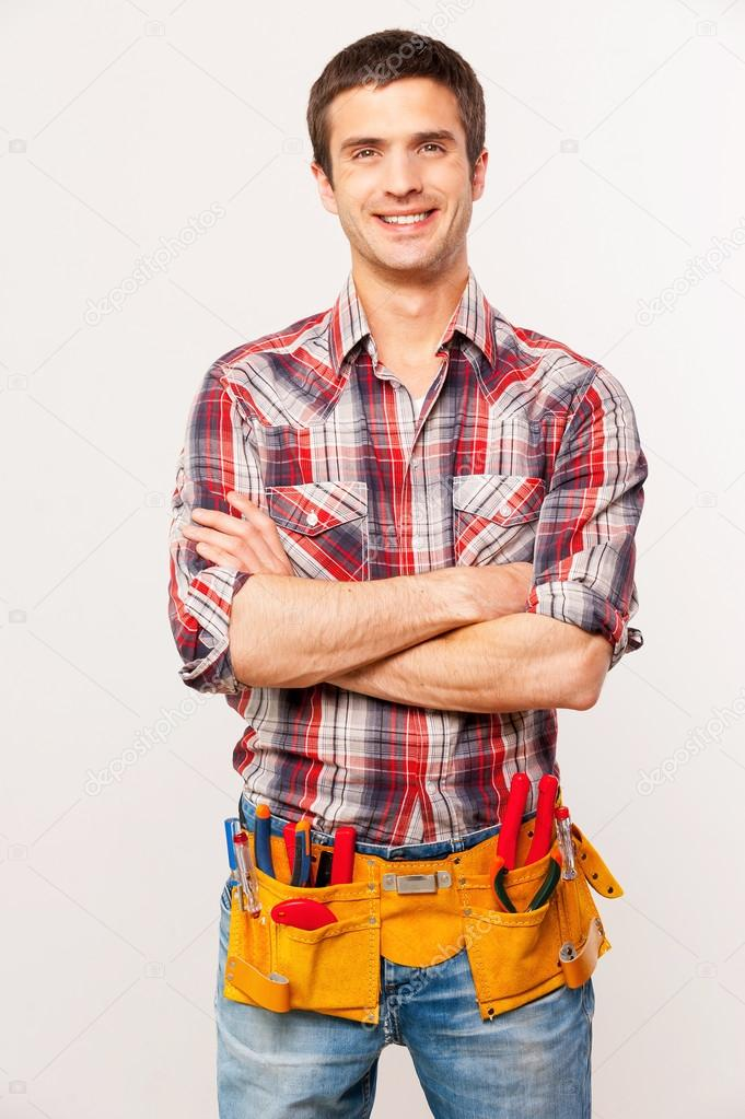 Cheerful handyman.