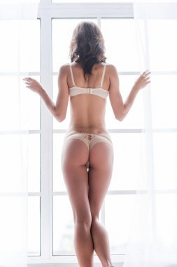Woman in lingerie looking through window