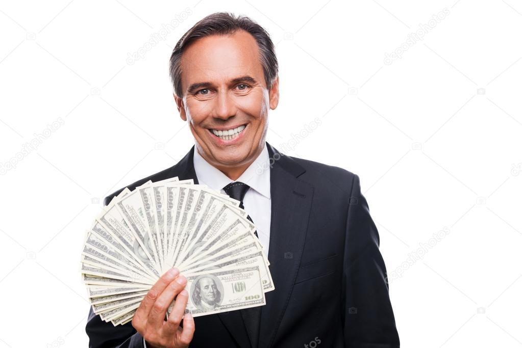 Technology Management Image: Smiling Businessman Man Holding Money