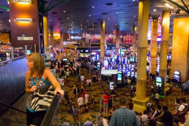 Tourists in crowded casino
