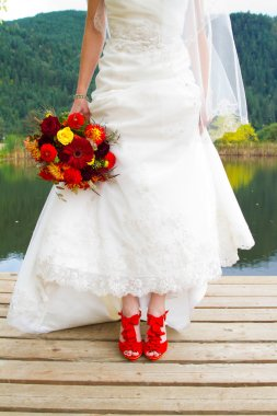Bride and Red Shoes