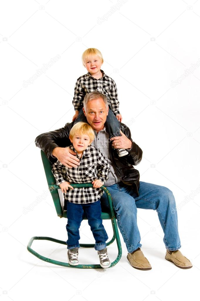 Groovy Grandpa With Grandsons Stock Photo C Joshuarainey 37094807 Squirreltailoven Fun Painted Chair Ideas Images Squirreltailovenorg