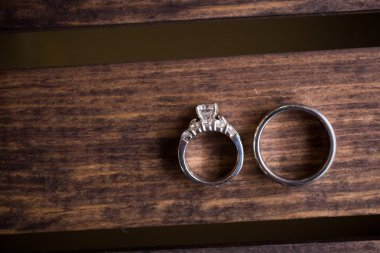 Wedding Rings on Wood Box
