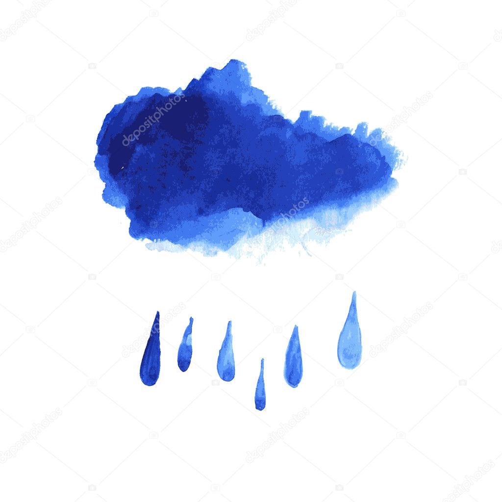 Watercolor stain like rain cloud. Vector illustration.