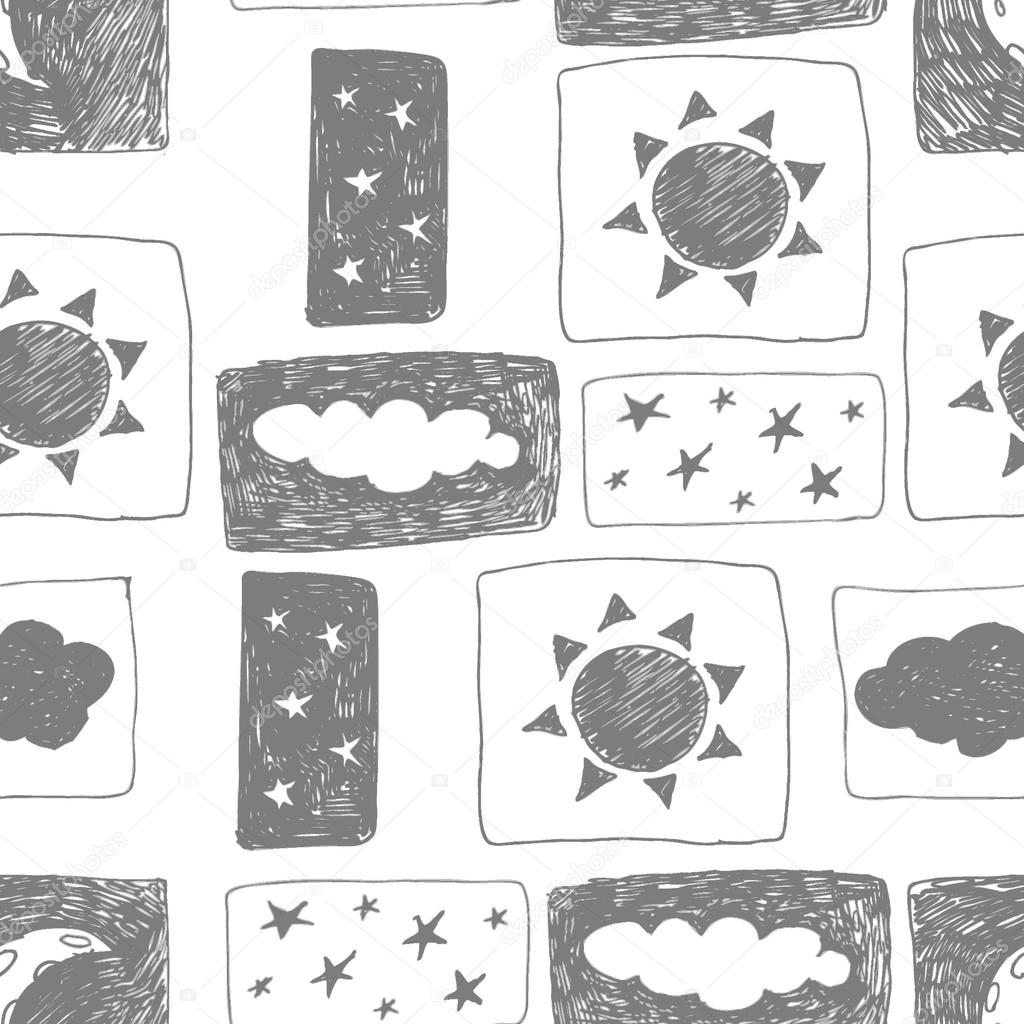 Seamless pattern with hand-drawn clouds, the sun, the stars. Vector illustration