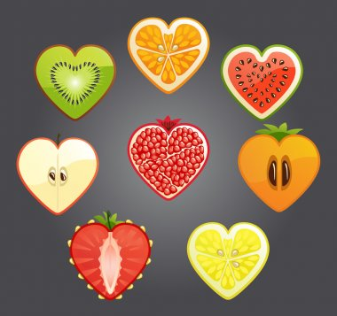 Cut of differend fruits and berries in the shape of a heart. Vector.