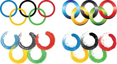 Set of the Olympic rings.White background.