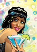 Portrait of funny female with blue cocktail and gloved hand.Vector.