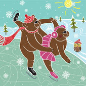 Photo Two brown bears skaters skated.Vector humorous illustration