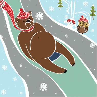 Brown bear is rolling on sleds . Vector humorous illustration