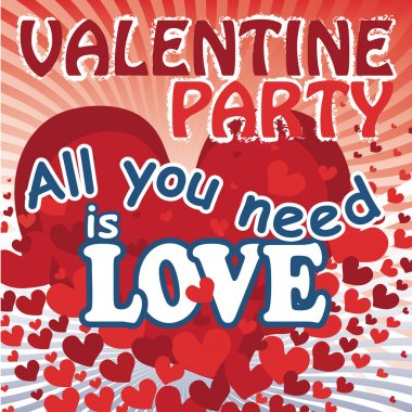 Flying red hearts in valentines poster. All you need is love.Vec