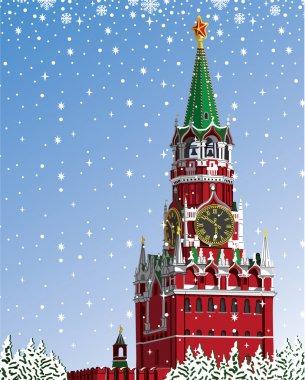 Moscow Kremlin.Russian winter.Iillustration