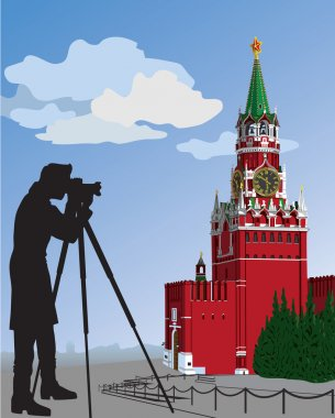 The Moscow Kremlin.The photographer.Vector illustration