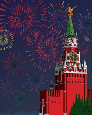 The Moscow Kremlin.Festive fireworks.Vector illustration