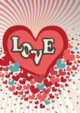 Flying red hearts in valentines card.Vector