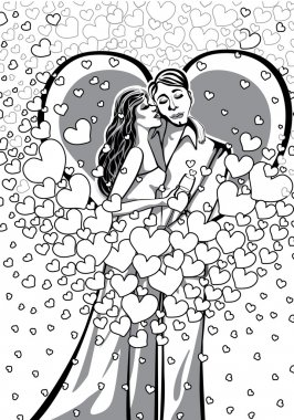Kissing Lovers man and woman.Black and white.Illustration.eps