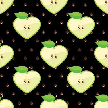 Heart of apples in seamless pattern on seeds background