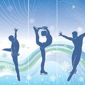 Fotografie Mann-Skater in abstrakten background.three vertikale Banner. Winter