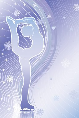 Man figure skates.Vertical Gradient background with snowflakes a
