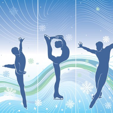 Man skaters in abstract background.Three vertical banner. Winter