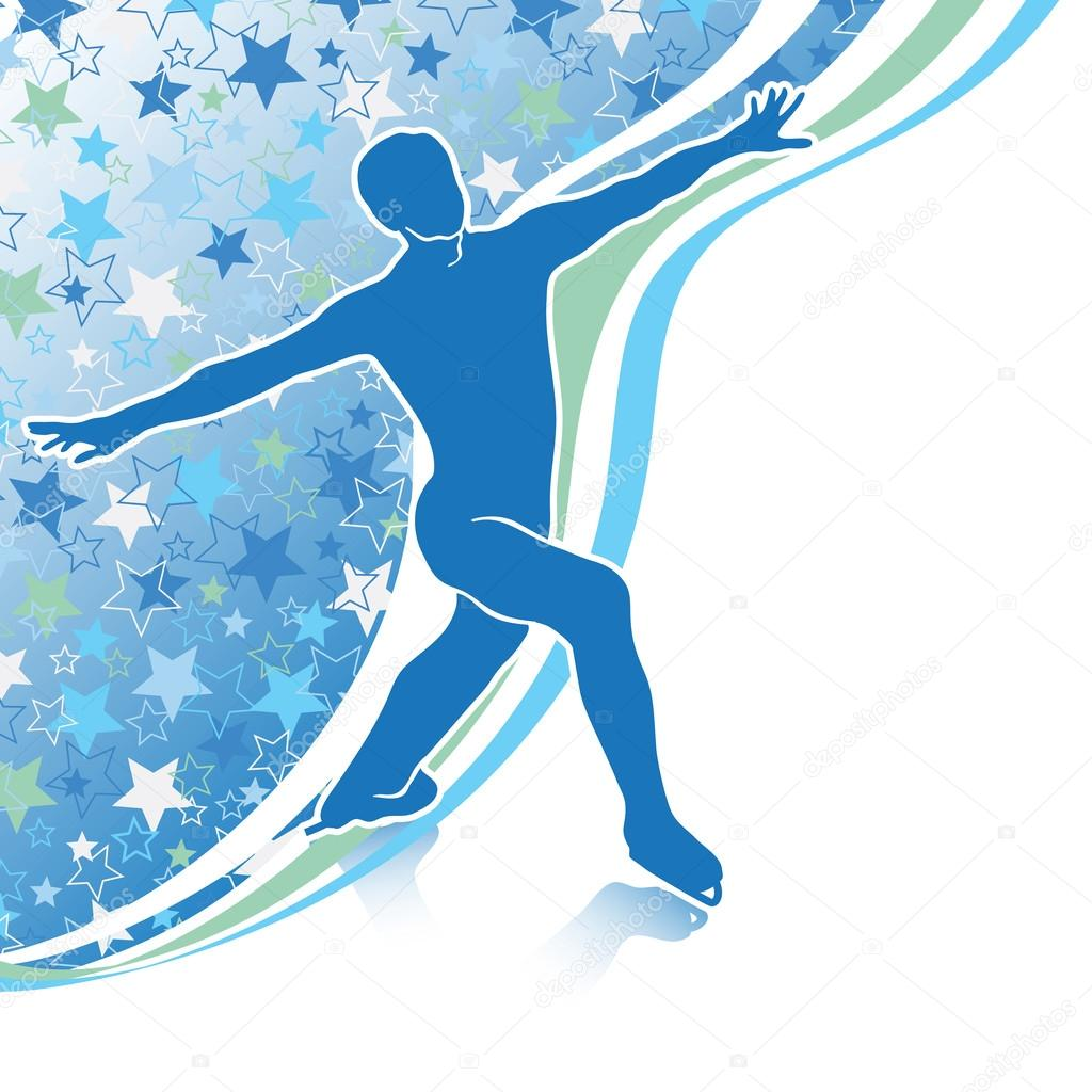 man figure skates design template with stars background and line