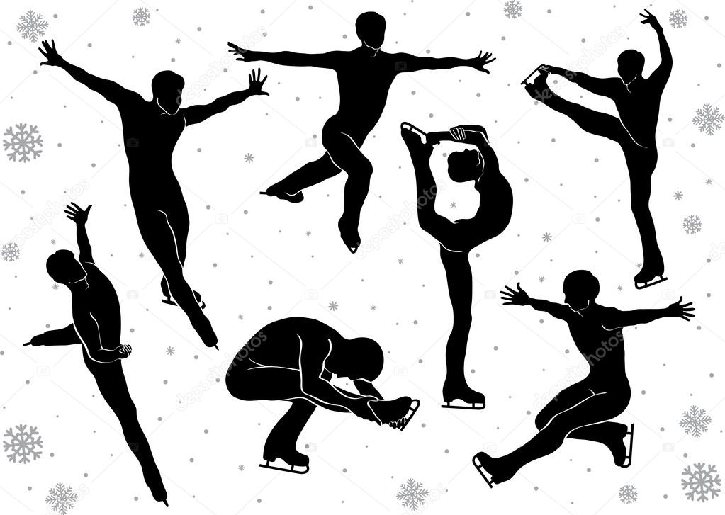 Men in figure skating vector silhouettes in motion on ice