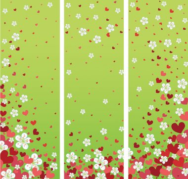 Banners  with cherry flowers and hearts.Spring design