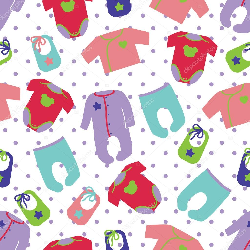 Colorful Clothes For Newborn Children Seamless Pattern Or Ornament With Polka DotUnisex Models Baby FashionFor FabricsWallpaper Packagingbackground