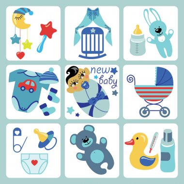 Cute cartoons icons for Asian newborn baby boy