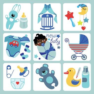 Cute cartoons icons for mulatto newborn baby girl