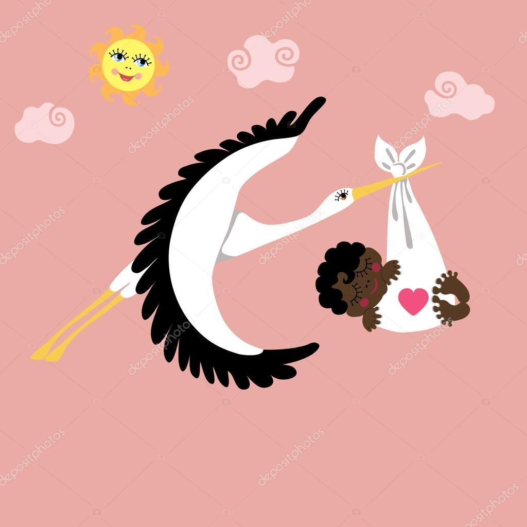 Leylek Gökyüzünde Uçan Bir Melez Yeni Doğan Bebek Kız Stok Vektör