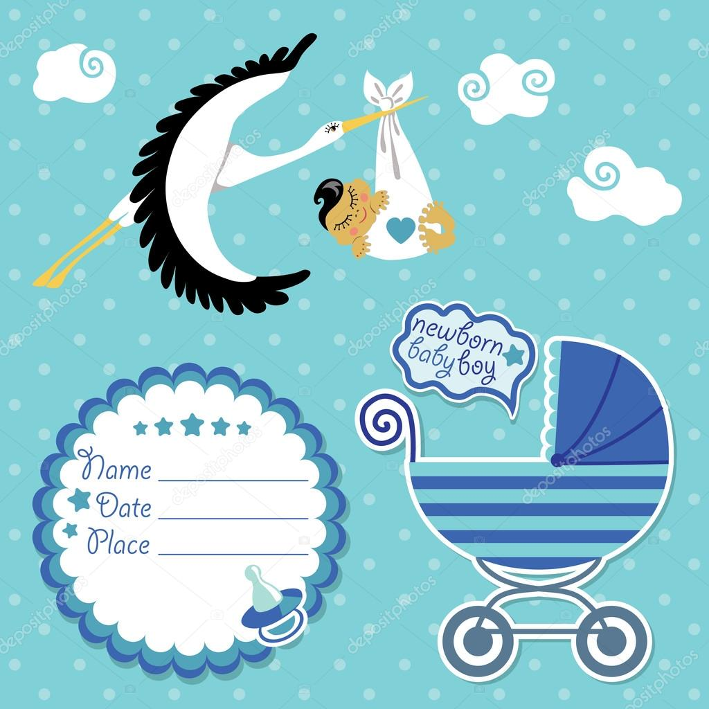 baby shower card invitation scrapbook with stork and asian boy