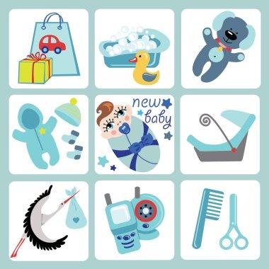 Cute cartoons icons for European baby boy.Newborn set