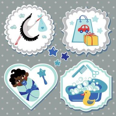 Label set with items for mulatto newborn baby boy