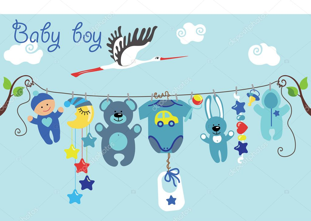 Cute Cartoon Baby Set Baby Boy Items Stock Vector C Tatiana Kost 44835245