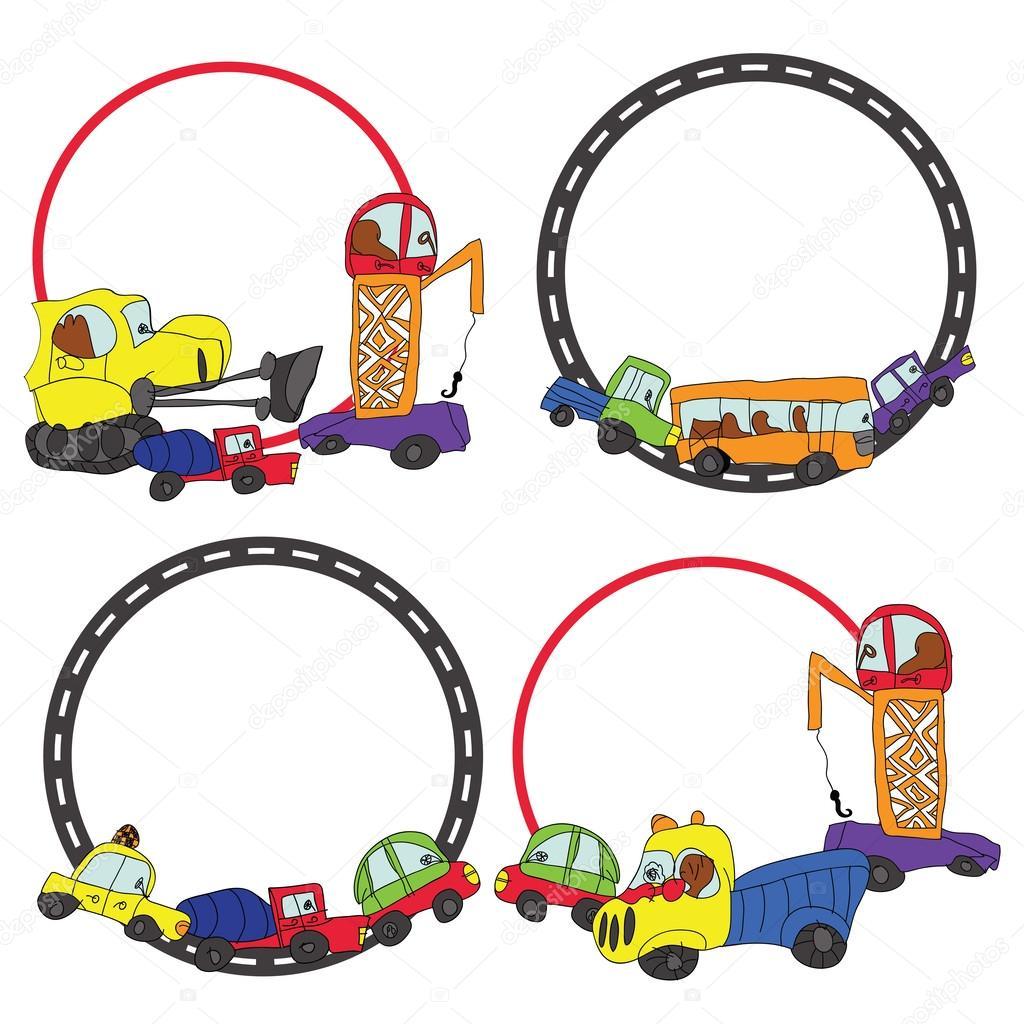 mano de niño dibujar cars.funny doodle círculo marco conjunto ...