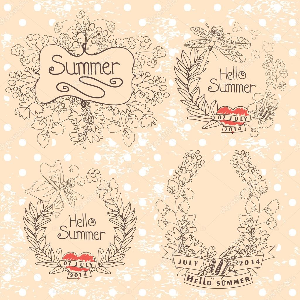 Stylish Vintage floral label with butterflies,bees.Hellow summer