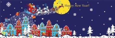 New Year horizontal banner.Santa Claus coming to City