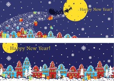 New Year horizontal banner set.Santa Claus coming to City