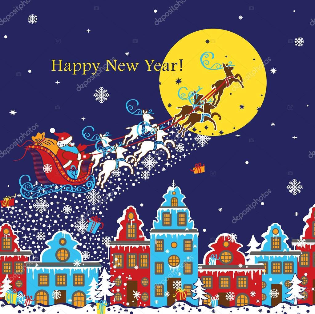 New Year greeting card.Santa Claus coming to City
