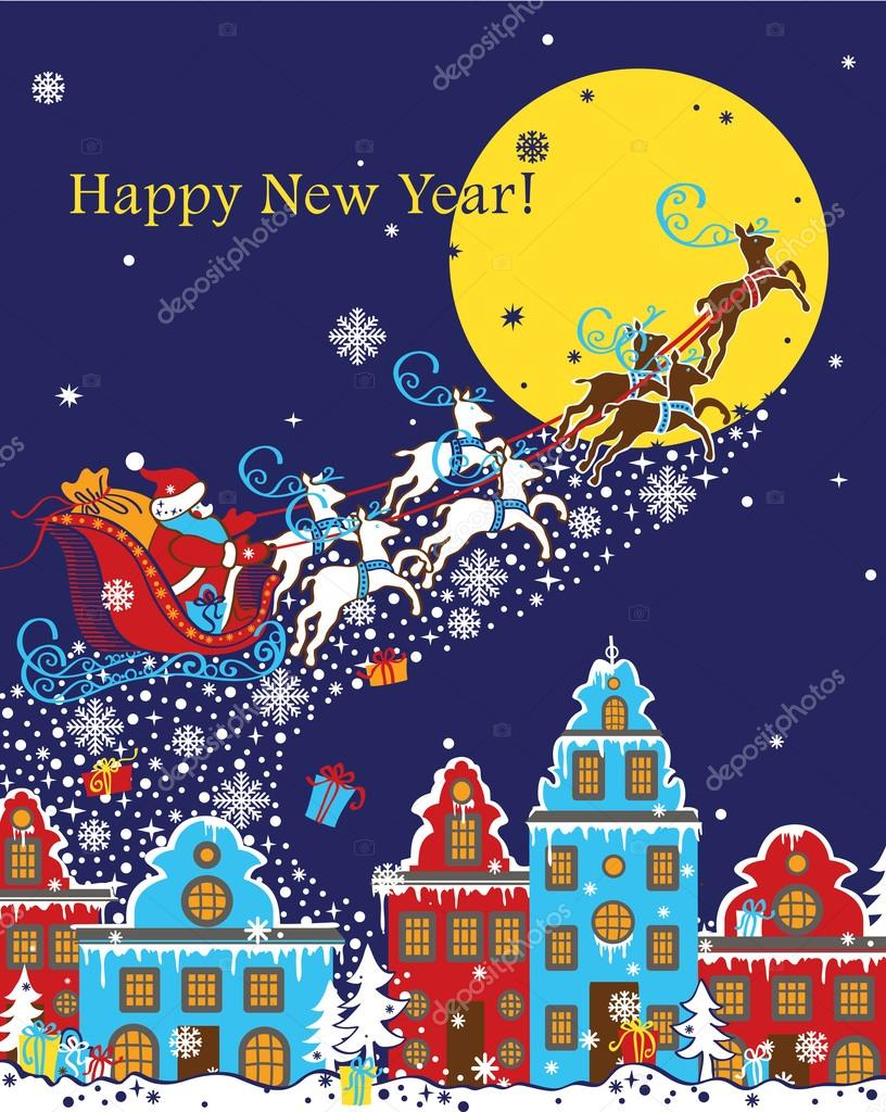 Santa Claus coming to City.New Year greeting card
