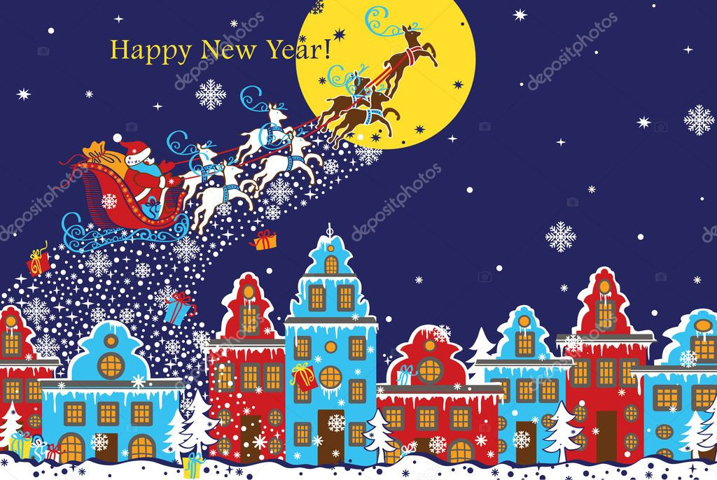 santa claus sleigh with reindeer fly over the city and throws gifts on the background of the moon a city in the dutch style happy new year greeting card